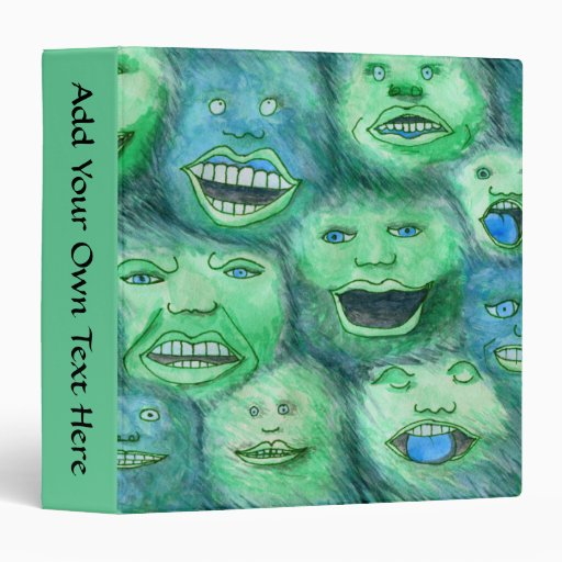 Funny Faces. Fun Cartoon Monsters. Green. 3 Ring Binders