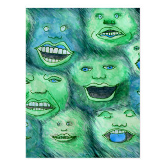 Funny Faces. Fun Cartoon Monsters. Green. Postcard