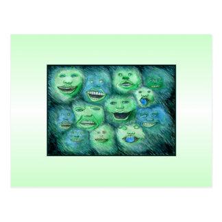 Funny Faces. Fun Cartoon Monsters. Green. Postcard