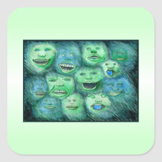Funny Faces. Fun Cartoon Monsters. Green. Sticker
