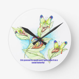 funny Failed Social Butterfly caterpiller Clock