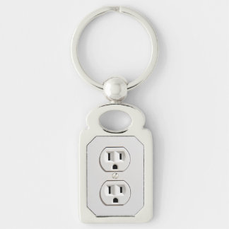 Funny Fake Electrical Outlet Silver-Colored Rectangle Keychain