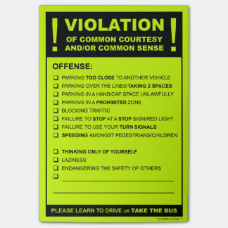 Funny Fake Parking Ticket Driving Citation Post-it® Notes