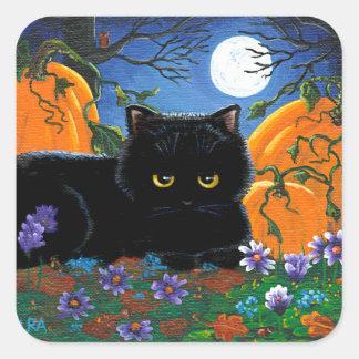 Funny Fall Black Cat Creationarts Square Sticker