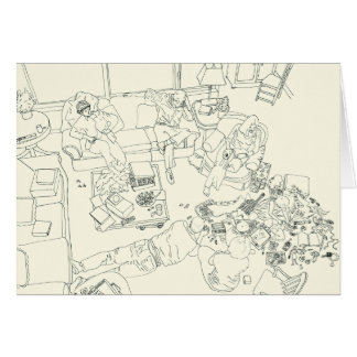 Funny Family Mess in the Lounge Line Drawing Art Card