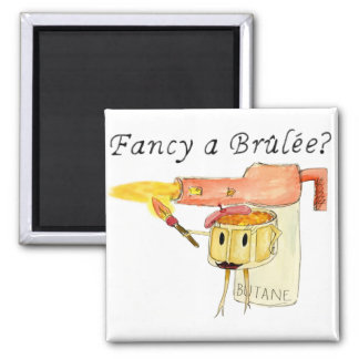 Funny Fancy a Brulee Quirky watercolour Art Design Magnet