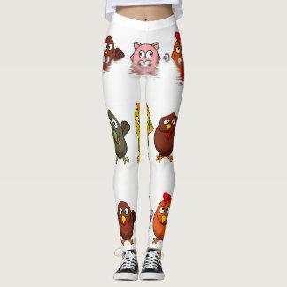 Funny farm animal characters isolated leggings