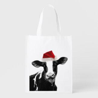 Funny Farm Animal Christmas Cow wearing Santa Hat Reusable Grocery Bag