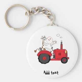 Funny Farm Cow on tractor personalized Key Chain