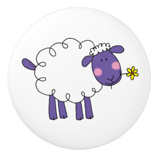 funny farm woolly sheep ceramic knob