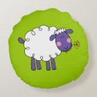 funny farm woolly sheep round pillow