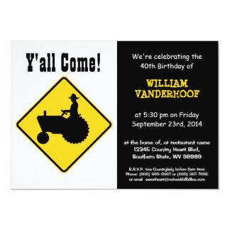 "Funny  Farmer on Tractor Birthday Party 5"" X 7"" Invitation Card"
