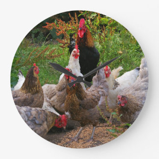 Funny Farmyard Chickens Hens & Rooster Clock