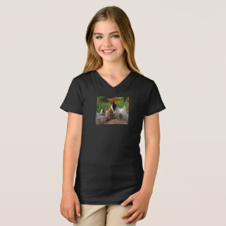 Funny Farmyard Chickens & Rooster V-Neck T-Shirt
