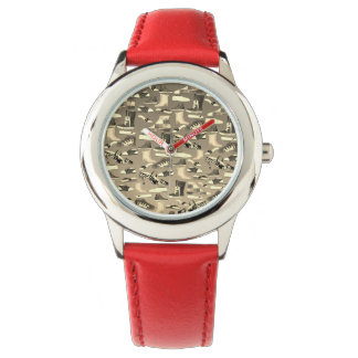 Funny Fashion Shoes Lover Cartoon Details Red Watch