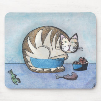 Funny Fat Cat Original Art Mousepad