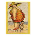Funny Fat Lady on Beach Postcard