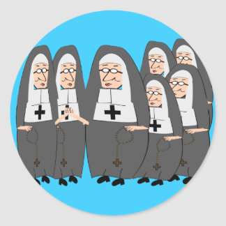 """Funny """"Fat Nuns"""" Gifts for any occasion Classic Round Sticker"""