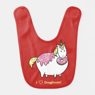 Funny Fat Unicorn Eating Sprinkle Doughnut Bib