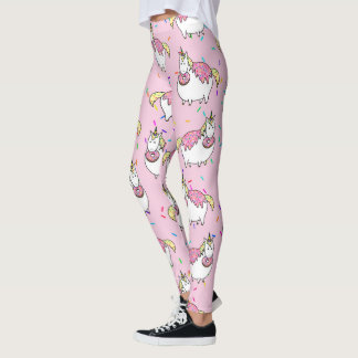 Funny Fat Unicorn Eating Sprinkle Doughnut Leggings