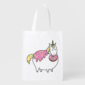 Funny Fat Unicorn Eating Sprinkle Doughnut Reusable Grocery Bag
