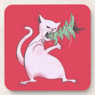 Funny Fat White Cat Eats Christmas Tree Coaster