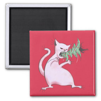 Funny Fat White Cat Eats Christmas Tree Magnet