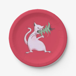 Funny Fat White Cat Eats Christmas Tree Paper Plate
