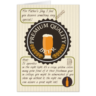 Funny Father's Day Retro Beer Label for Cousin Card