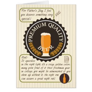Funny Father's Day Retro Beer Label for Son Card