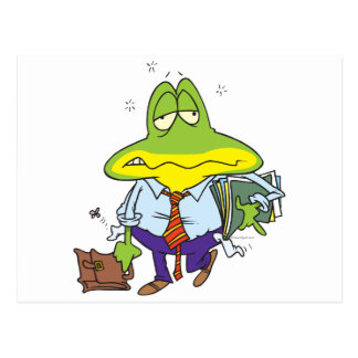 funny fatigued tired working man frog postcard