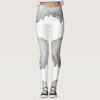 Funny Feathers Angel Wings Feather White Leggings