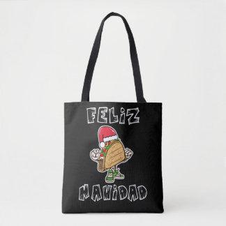 Funny Feliz Navidad Taco Santa Tote Bag