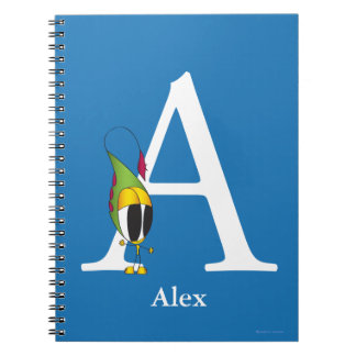 Funny Fellows ABC: Letter A | Add Your Name Spiral Notebook
