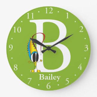 Funny Fellows ABC: Letter B | Add Your Name Large Clock