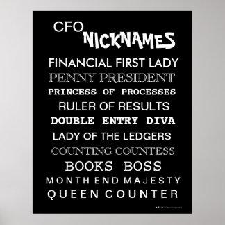Funny Female CFO Nicknames Office Poster