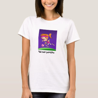Funny female football player soccer girl cartoon T-Shirt