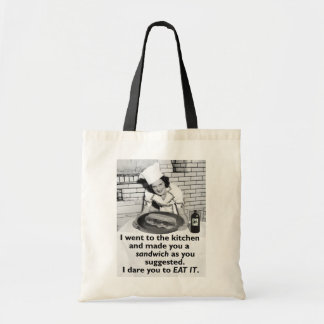 Funny Feminist Make Me a Sandwich Budget Tote Bag