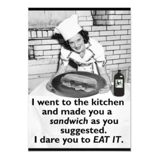 Funny Feminist Make Me a Sandwich Retro Woman Magnetic Invitations