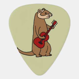 Funny Ferret Playing Red Guitar Guitar Pick