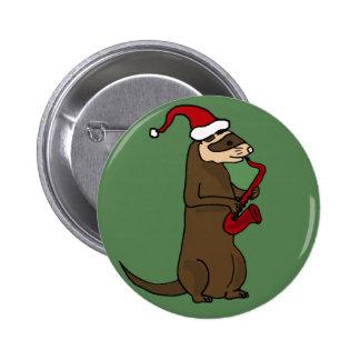 Funny Ferret Playing Saxophone Christmas Art Pin
