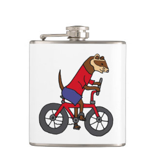 Funny Ferret Riding Red Bicycle Flasks