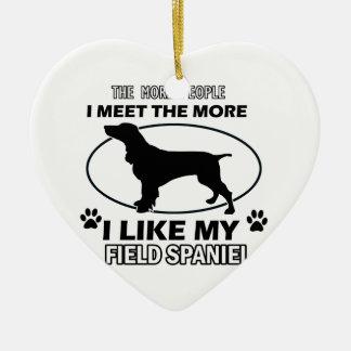 Funny field spaniel designs ceramic heart ornament