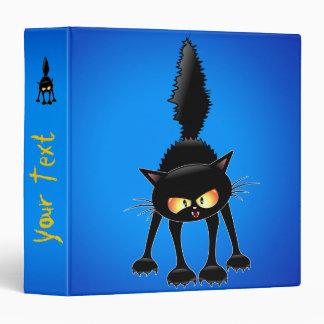 Funny Fierce Black Cat Cartoon Binder