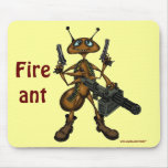 Funny fire ant with guns cartoon art mousepad