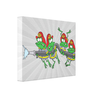 funny firefighter froggy frogs canvas print