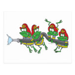 funny firefighter froggy frogs postcards