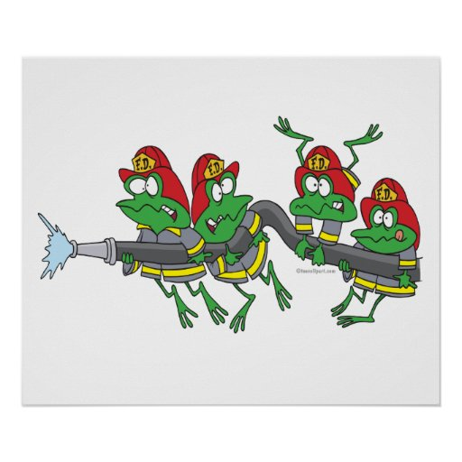 funny firefighter froggy frogs posters
