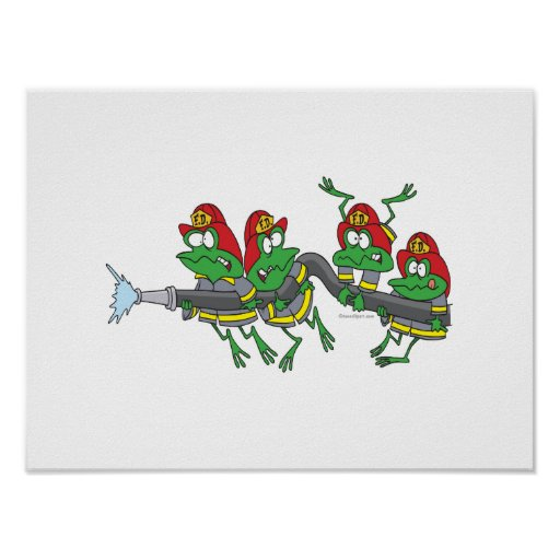 funny firefighter froggy frogs print