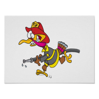 funny firefighter turkey cartoon posters